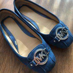 Michael kors blue velvet flat shoes